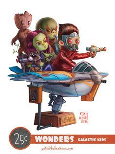Galactic Kids - 25 Cent Wonders - The Art of Patrick Ballesteros #guardiansofthegalaxy
