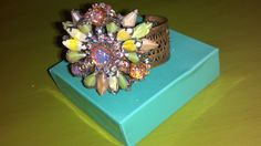 Awesome repurposed vintage brooch, now cuff bracelet.  Find us on Facebook at Robin's Nest Restorations