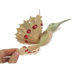 Hummingbird Art Wooden Fan Bird Mobile, 5th Anniversary Woodworking... ($41) ❤ liked on Polyvore featuring home, home decor, rustic home accessories, rustic home decor, mobile home decor, red home decor and rustic wood home decor