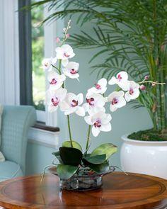 Fuchsia & White Silk Phalaenopsis Orchid Plant Centerpiece | Artificial Orchid Arrangements for Sale
