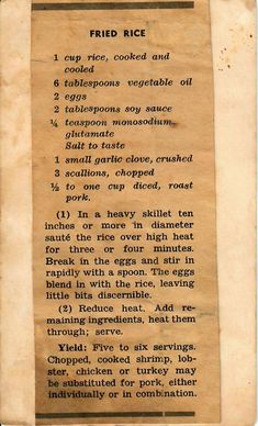 Vintage Stuff Fried Rice - vintage recipe for classic Pork Fried Rice, may substituent cooked shrimp, lobster, chicken, or turkey. Retro Recipes, Old Recipes, Vintage Recipes, Rice Recipes, Side Dish Recipes, Asian Recipes, Mexican Food Recipes, Cooking Recipes, Japanese Recipes