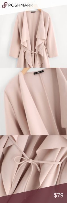 Blush Draped Coat Chic & Elegant. Perfect for the Winter season. Blush Color. Belted front.  Material : 95% Polyester, 5% Spandex 3/4 Sleeve Regular Fit Fabric : Fabric has some stretch Shoulder(cm) : XS:39, S:40,M:41, L:42 Bust(cm) : XS:92, S:96, M:100, L:104 Sleeve Length(cm) : XS:46, S:47,M:48, L:49 Length(cm) : XS:94, S:95, M:96, L:97 Bicep Length(cm) : XS:32, S:33, M:34, L:35 Waist Size(cm) : XS:89, S:93, M:97, L:101 Cuff(cm) : XS:28, S:29, M:30, L:31 Jackets & Coats Trench Coats