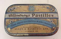 Vintage Allenburys Glycerine & Black Currant Pastilles Advertising Tin
