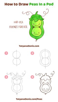 How to draw kawaii sweet peas in a pod in 4 simple steps. Artwork and step-by-step tutorial by Tatyana Deniz. drawings kawaii How to draw kawaii sweet peas (step-by-step tutorial) Easy Disney Drawings, Cute Easy Drawings, Cute Kawaii Drawings, Kawaii Doodles, Cute Doodles, Kawaii Art, Easy Drawings Of Girls, Easy Sketches To Draw, Simple Animal Drawings