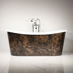 'The Carmarthen' Cast Iron French Bateau Tub with Solid Aged Copper Exterior plus Drain