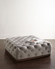 "Tufted ottoman. Rubberwood frame. Polyester upholstery. 43""Sq. x 17.5""T. Imported. Boxed weight, approximately 64 lbs."