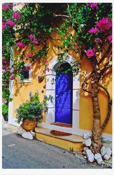 Colourful door in Assos, Kefalonia island