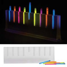 "With 46 glow sticks. 4 assorted colors: pink; blue; yellow; orange.<br> Dimensions: 10"" x 3.25"" x 1.25"""