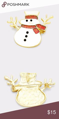 """Bling Enamel Snowman Pin Brooch • Color : Red, Gold, White • Theme : Christmas  • Size : 2.25"""" X 1.75"""" • Material : Lead and nickel compliant • Bling Enamel Snowman Pin Brooch Jewelry Brooches"""