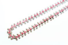 Sparkly Pink Rhinestone Diamante & Silver Coloured Articulated Flowers Necklace (c1960s) - Wedding by GillardAndMay on Etsy