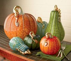"""""""Metro Pumpkins and Squash""""  Art Glass Sculpture    Created by Michael Cohn and Molly Stone"""