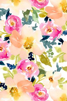 Portadown Watercolor Flowers on White by angiemakes - Watercolor florals in pink, blue, green, and mauve on fabric, wallpaper, and gift wrap.