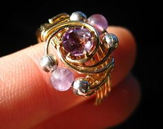 Amethyst and Fluorite Gold Ring