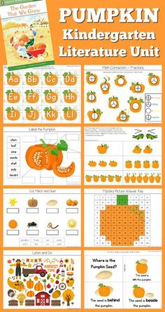Pumpkin Theme Kindergarten Literature Unit based on the book The Garden That We Grew. Sequencing Activities, Kids Learning Activities, Ninja, Kindergarten Units, Teacher Blogs, Early Learning, Literature, The Unit, Autumn