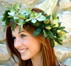 Green Passion Flower Flower Crown With Single Removable Bobby Pin Flower accented with Swarovski Crystals