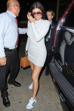 Kylie Jenner - love the turtle neck dress and all stars! ♥