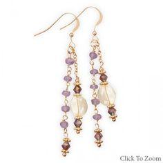 14 Karat Gold Plated Tanzanite and Citrine Drop Earrings from Bonita Moda…