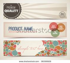Favor tags or donation cards? These are vector so we can alter the colors easily.  stock vector : Set of retro horizontal banners - with place for your text