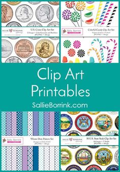 Discover colorful and fun clip art and digital papers! You'll find U.S. coin clip art, state quarters clip art, state digital papers, candy clip art, Mexican coin clip art, Canadian coin clip art, U.S. state seals clip art, seasonal digital papers, and holiday digital papers.