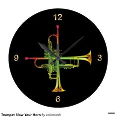 Trumpet Blow Your Horn - Here's just the right clock for anyone whose instrument of choice is the trumpet and would enjoy marking time with it.