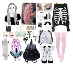 A fashion look from April 2017 featuring pink socks, short shorts and long line bra. Browse and shop related looks. Outfits Kawaii, Pastel Goth Outfits, Pastel Punk, Pastel Goth Fashion, Pastel Outfit, Punk Outfits, Kawaii Clothes, Fashion Outfits, Looks Kawaii