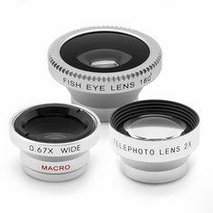 PACK DE 3X LENTES PARA SMARTPHONE  18,37 €  Tres lentes para cámara de smartphone. Un teleobjetivo 2x, un macro 0.67x (doble) y gran angular de 180º. Compatible con cámaras de menos de 13 mm de diámetro. El teleobjetivo es perfecto para ver y grabar eventos deportivos, conciertos, observar animales, detectives, etc. Con el macro de dos piezas puedes sacar imágenes de gran nitidez. El ojo de pez de 180º te proporcionará imágenes semiesféricas de tus experiencias deportivas, paisajes, cielos…