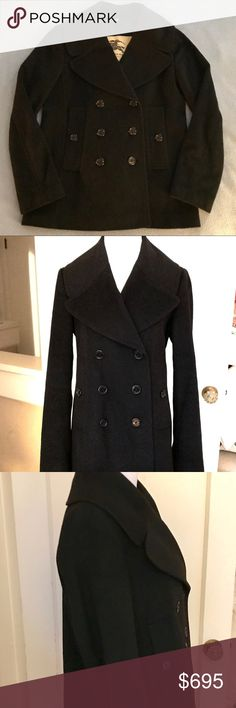 Burberry Wool Cashmere Blend Pea Coat In perfect condition.  Given to me as an early Xmas present. Wore it twice this past week and so wanted to believe that it was not too big for me but after seeing pictures of me in it, realized I was in denial.  This coat feels so luxurious and can take onsurprisingly different looks depending on how and what you pair it with.  Bought originally from Burberry for 1,795. Burberry Jackets & Coats Pea Coats
