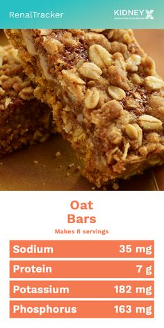 Oats are very good source of carbohydrate and is also very rich with fiber that helps in digestive health. Snack into this healthy bars and you'll be good to go. Low Sodium Desserts, Low Sodium Snacks, Low Salt Desserts, Low Salt Snacks, Low Salt Meals, Low Potassium Recipes, Low Sodium Recipes, Kidney Recipes, Kidney Foods