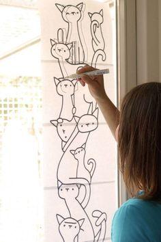 Kattenstapel door Cats Only (foto door Alles is foto) Katzenstapel # Fenster zeichnen von Cats Only (Foto von Everything is photo) Chalk Pens, Chalk Markers, Chalk Art, Cat Window, Window Art, Window Markers, Boutique Decor, Window Signs, Origami Art