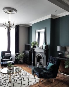 Like wall color, accent of plants, vases, velvet chair #familyroomdesignboard