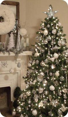 Ideas para decorar el árbol de navidad. Plateado