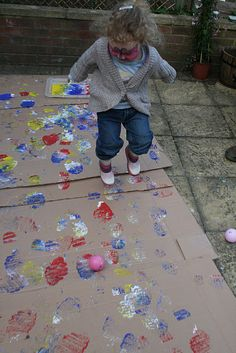 Making giant art prints with wellie/ rain/ gum boots! Other shoes would be fun to try too!