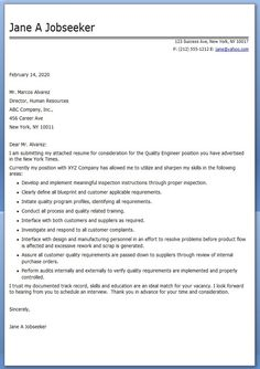 Quality Engineer Resume Cover Letter