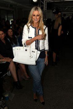 Roxy Jacenko at the Ellery show for AFW. That blazer and those jeans are amazing.