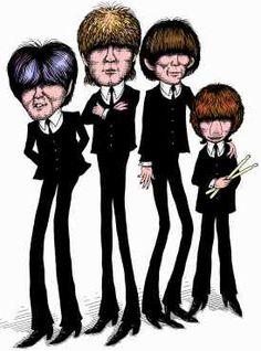 pop music  Prince caricatures | The Beatles music group cartoon