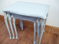 vintage painted shabby chic nest of tables in farrow and ball parma gray from www.calico-cat.co.uk Shabby Chic Nest Of Tables, Arts And Crafts, Diy Crafts, Occasional Tables, Chalk Painting, Farrow Ball, Parma, Home Living Room, Coffee Tables