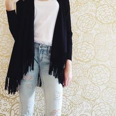 Central Park West fringe cardigan http://lilyandviolet.com/collections/sweaters/products/black-fringe-open-cardigan