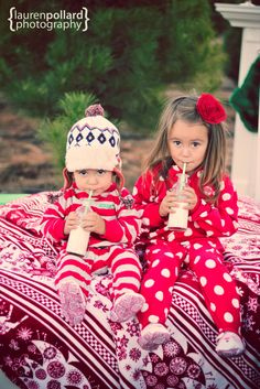 sister and brother holiday card, love the cozy pjs and milk