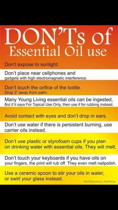 Don'ts of EO use.. New to essential oils? Get a FREE 14 day Essential oils 101 E-Course, download and free virtual essential oils class here: http://www.greenthickies.com/free Get started with Young Living essential oils here: http://www.greenthickies.com/oils