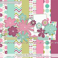 Doodled Blooms free printable Totally free! scrapbook papers and flowers labels so nice