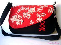 Sac besace, sac à main femme tissu japonais Aya rouge : Sacs bandoulière par tamini, very nice