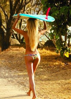 summer bikini beach girls.  surfing is great exercise