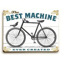 Best Machine Bicycle by Artist Michael Dexter Wood Sign