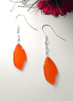 Autumn Orange Sea Glass Earrings by PinkGirlJewelry on Etsy, SOLD