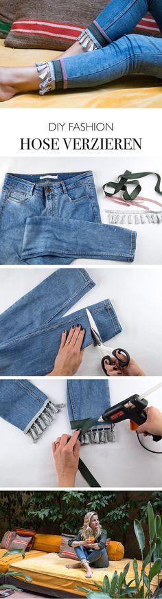 DIY Fashion - Hose Upcycling - Saum mit Quasten verzieren Troddeln, Tassels, Pompoms