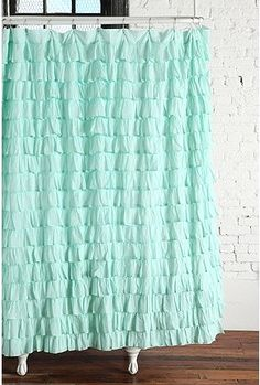 Obsessed with ruffles...love these but in yellow for a shower curtain!