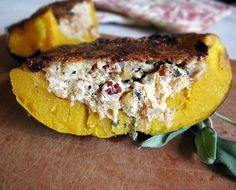 We have Dorie Greenspan to thank for this recipe. Last year, we wrote about her Pumpkin Filled with Bread and Cheese, a recipe we've since seen updated in Fine Cooking. Thing is, we'd rather eat squash than pumpkin—and we only needed to feed two people. So we swapped in some acorn squash and made a few changes (including an all-important step for getting that delicious, caramelized crust on top).