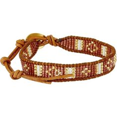 Chan Luu 6 1/4' Red Mix/Natural Brown Single Bracelet, Red (110 CAD) ❤ liked on Polyvore featuring jewelry, bracelets, red, bracelet bangle, charm bangle, chan luu bracelet, bracelet charms and leather bracelet