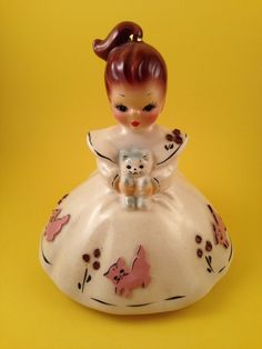 Josef Originals California Girl Figurine with Gray Kitten and Cat Printed Dress