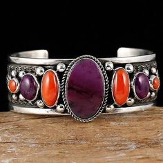 GUY HOSKIE Navajo Natural Purple Sugilite & Coral  Bracelet Sterling Silver